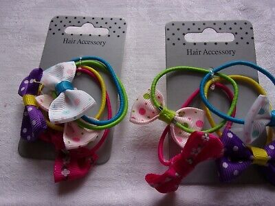 8 Girls Hair Elastic/Bobbles with Grosgrain Ribbon Bows Hair Accessorie