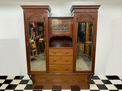 Antique Shapland & Petter arts crafts large mahogany compactum wardrobe armoire