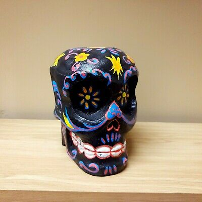 Candy Skull Black Hand Painted Wooden Hand Carved Mexican Day of the Dead