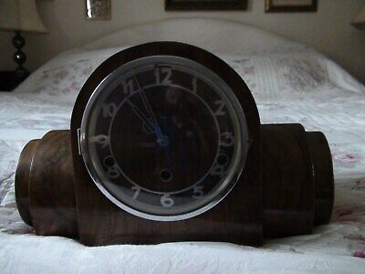 art deco  clock  old walnut burr wood  with key chimes works perfectly