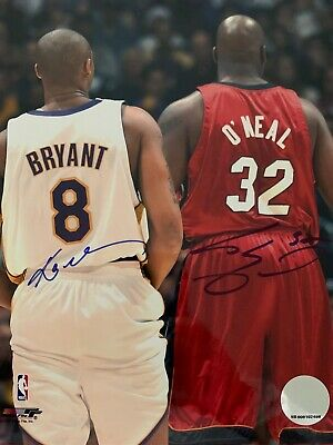 Kobe Bryant + Shaquille O'Neal Hand Signed Original Autographed Photo Lakers NBA