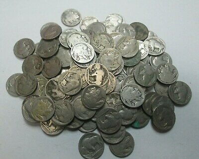Lot of 100 Mixed Buffalo Nickels in Canvas Coin Sack Full No Dates Partial