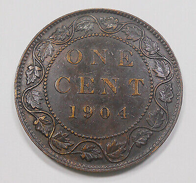 1904 Large Cent EF Nice HIGH Grade UNDERVALUED Date King Edward VII Canada Penny