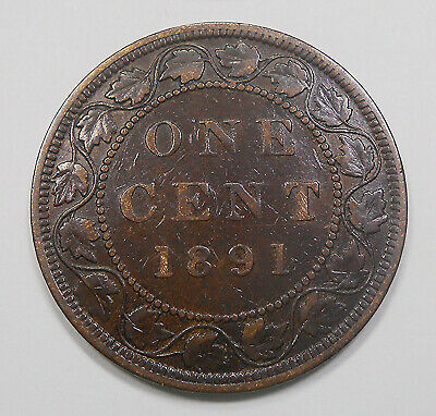 1891 LD LL OBV.#2 Large Cent VF Nice SCARCE Date KEY Queen Victoria Canada Penny