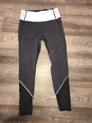 IVIVVA By Lululemon Girls Size 12 Full Length Gray Leggings Mesh Panels Pockets