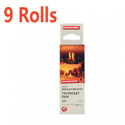 9 Rolls Lomography LOMO 200 Lobster Redscale 110 24E Color Negative Film12/2020