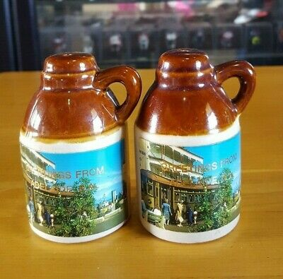 Vintage Adelaide Souvenir Salt & Pepper Shakers Pottery Jug Shape Novelty