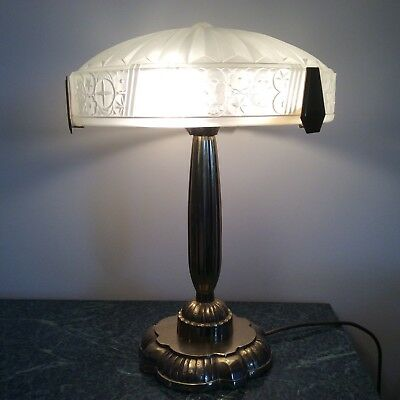 Solid Brass Art Deco Lamp And Frosted Pressed Glass Shade