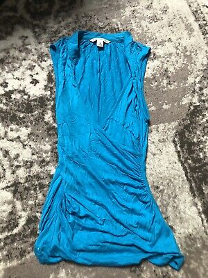 NWT Banana republic Turquoise Blue V Neck Ruched Dressy Top shirt-S--$48