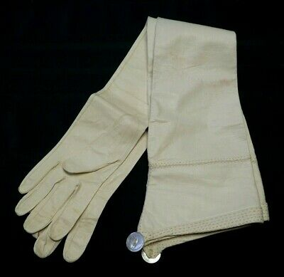 """Vintage Antique Andrine French Cut Kid Leather Opera Gloves 26"""" Long Off White"""