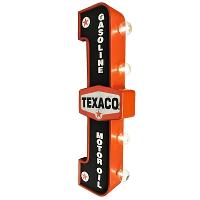 Texaco Gasoline & Motor Oil LED Marquee Sign - Double Sided Light - Hexagon