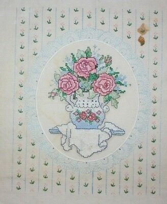 """""""Roses in Porcelain"""" by Sunset 1991 # 13038 Hand Embroidered Completed Finished"""