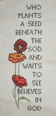 Red Poppies and Poem Hand Embroidered Completed Finished Unframed