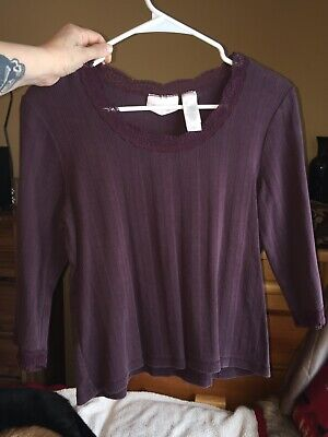 Womens Ladies Liz Claiborne Petite Large Shirt Top 3/4 Sleeve Plum
