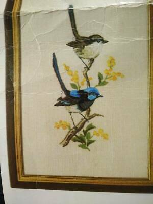 OZ Blue Wrens Vintage Traced Crewel Kit, Instuctions and Threads