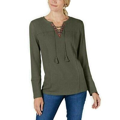 Style Co Womens Olive Green Lace Up Long Sleeve Tassel Top Olive Sprig NWT
