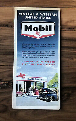 Vintage Mobil Oil Central & Western United States Road Map