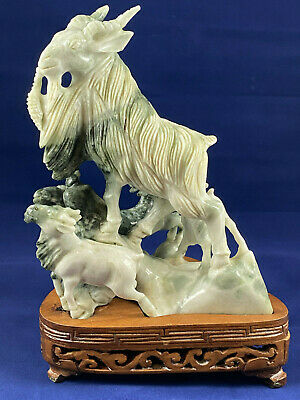 Vintage  Chinese Hand Carved Jade Mountain Goats Sculpture on Wooden Base