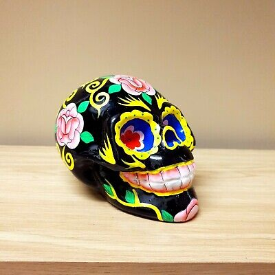 Candy Skull Black Glossy Hand Painted Wooden Hand Carved Mexican Day of the Dead
