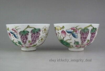 A Pair Chinese Old Famille Rose Porcelain fruit Teacups /cups