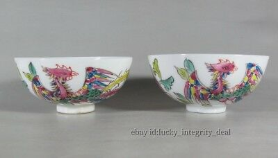 A Pair Chinese Old Famille Rose Porcelain Phoenix Teacups /cups