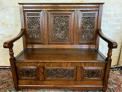 Outstanding Quality Antique Carved Oak Settle/Bench Circa 1920
