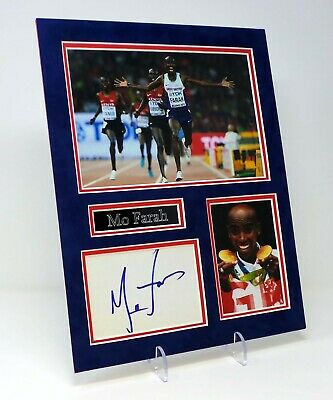 Mo FARAH Signed Mounted Photo Display AFTAL Olympic Gold Medal Winning Runner