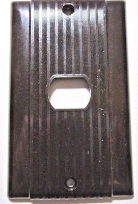 Uniline Despard Switch Wall Plate Cover Art Deco Ribbed Brown Bakelite Vintage
