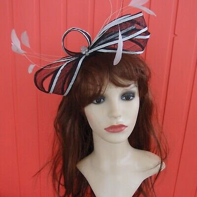 Navy Blue Ivory Silver Fascinator hat bow feathers mother bride wedding races