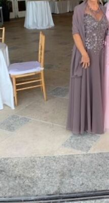 Mother of the Bride Taupe Long Dress Gown with Beaded Top and Shawl - Size 6