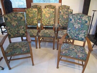 8  Elegant Antique Arts & Crafts period oak dining chairs by Warings, Belinda Co