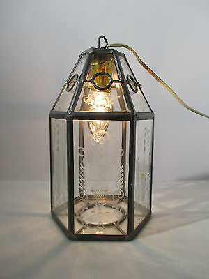 Chandelier Hanging Light Lamp Etched Leaded Glass Vtg 6 Sided Birds Germany