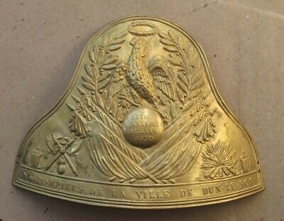 ANTIQUE FRENCH EMBOSSED BRASS PLATE BADGE FOR HELMET OR CAP CASQUET / 19th C