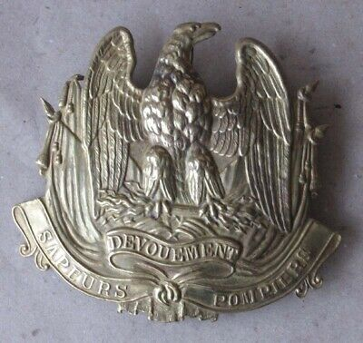 ANTIQUE FRENCH EMBOSSED BRASS PLATE BADGE FOR HELMET OR CAP CASQUET / 19th C.