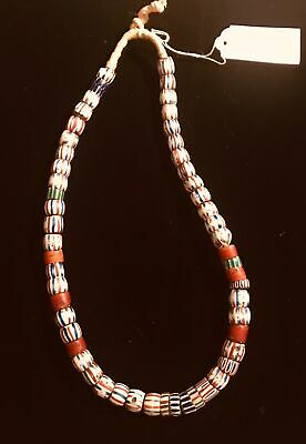 Vintage Trade Beads African Italy Strand Venetian Striped Barrels 002