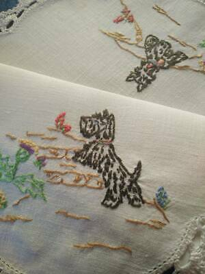 Black Scotty Dogs & Thistle  Vintage Hand Embroidered Centrepiece