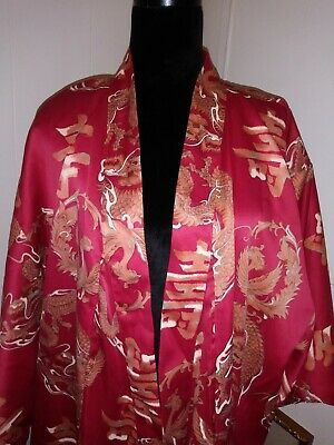 Japanese Kimono Long Robe Red Polyester Dragon & ?Japanese language print EUC