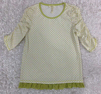 Matilda Jane Rehearsal Time Tee Girls Make Believe Dot Lace Ruched Top Size 14