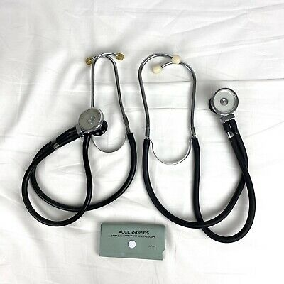 LOT of 2 Vintage Sprague Rappaport Stethoscopes w/ Accessories