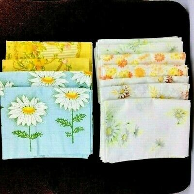 10 Vintage Pillowcases Floral Cutter Fabric 5 Pairs 1 Single Retro Lot