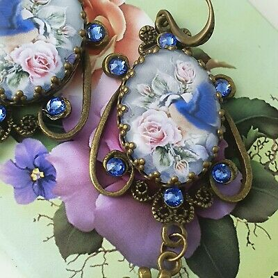 Stunning Unique Handmade Blue Bird And Roses Victorian Style Dangling Earrings