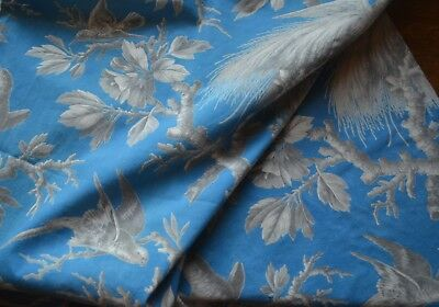 Over 2 yds antique French indienne fabric birds, grey tones, blue ground