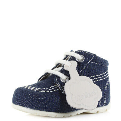 Kids Boys Kickers Hi Baby Text Dark Blue Denim Boot First Shoes Size
