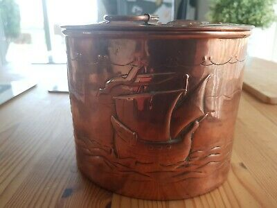 Arts and Crafts vintage Newlyn School Oval Copper Biscuit or Tea Caddy