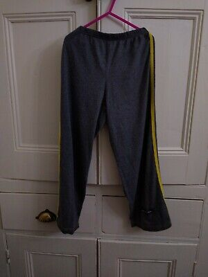 Girls Grey Yellow Striped Jogging Bottoms Trousers Age 6-7 116-122 cms