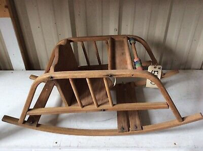 Vintage Antique Wooden Baby Seat Teeter Tot Rocker Chair