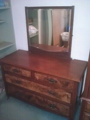 Stunning Antique Art Nouveau Mahogany and walnut dressing chest. Part of set.