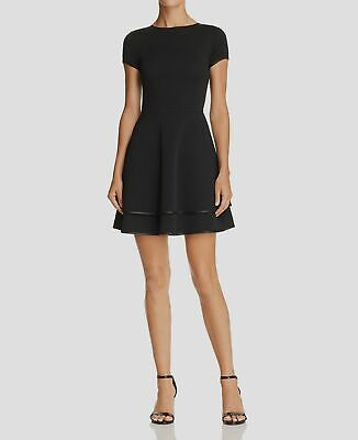 $299 Aqua Dresses Women's Black Piped Tiered Crew-Neck Fit & Flare Dress Size S