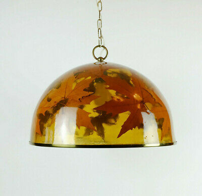 rare and outstanding 1970s vintage PENDANT LAMP resin with autumn leaves