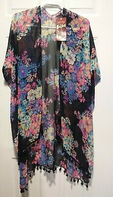 Faded Glory Kimono Beach Cover Up with Tassels One Size NWT Black Floral